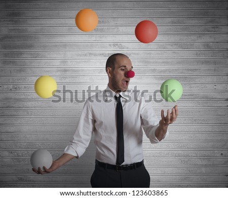 Concept easy business with juggler businessman