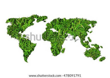 Concept ecology. World map, globe from the green plants isolated on white background
