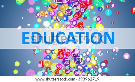 Concept Education. background of the many icons on the topic of education - stock photo