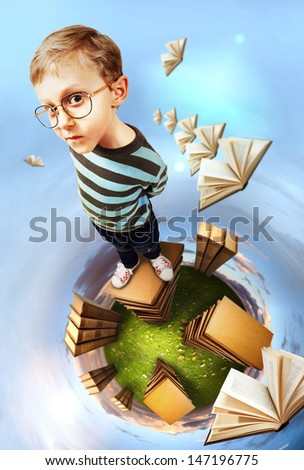 Concept education image. Egghead boy stands on books planet - stock photo