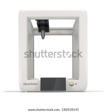 concept, empty 3d printer with empty display isolated on a white background - stock photo