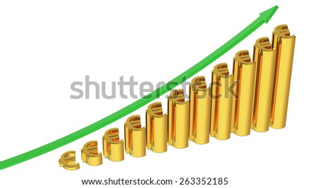 concept euro rise in bar graph 3d rendering with clipping path - stock photo