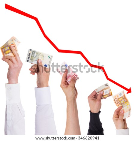 concept euro will become more and more cheaper isolated on white - stock photo