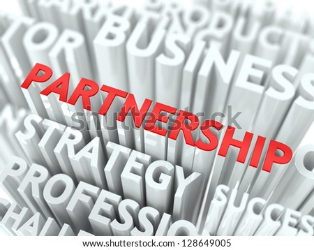 Concept Featuring Partnership Terms. Partnership Word Cloud Concept. - stock photo