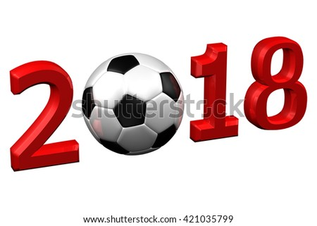 Concept: Football 2018, isolated on white background. 3D rendering. - stock photo