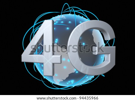 concept for a global 4g network - stock photo
