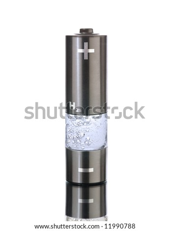 Concept for a hydrogen household fuel cell. AA battery with compartment filled with bubbling water - stock photo