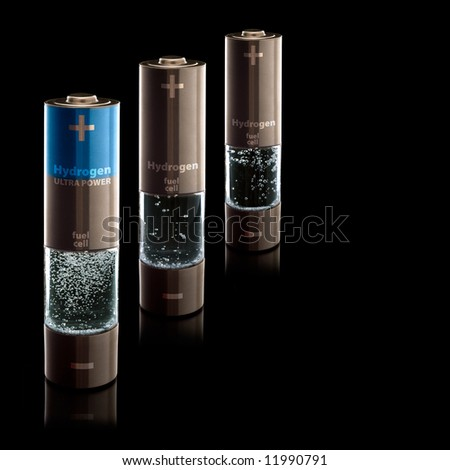 "Concept for a hydrogen household fuel cells. AA batteries with compartment filled with bubbling water. Regular and ""ultra power"" :) - stock photo"