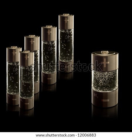 Concept for a hydrogen household fuel cells. AA (R6) batteries and C (R14) battery with compartments filled with bubbling water. - stock photo