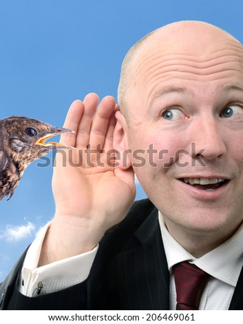 concept for a secret saying a little bird told me  - stock photo