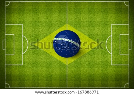 Concept for Brazil 2014 football championship. Brazil flag on soccer field with 3d ball.  (org. size: 3000x2000px)  - stock photo
