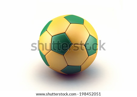 Concept for Brazil football championship. Soccer ball with Brazil flag on isolated on white background. - stock photo