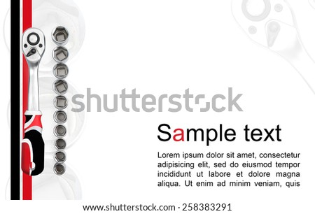 Concept for business card with ratchet socket. combination of red, black and white color - stock photo