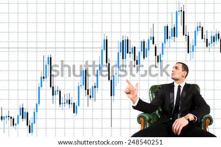 Concept for business processes - businessman, manager, work, business, transactions, money, profit, revenue, graphics, deal, reflect, issues, work, production, statistics, sales, income, profits. - stock photo