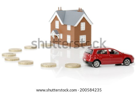 concept for cost of living isolated on a white background - stock photo
