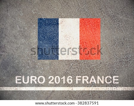 Concept for Euro 2016 France football championship.France flag paint on skin of cow - stock photo