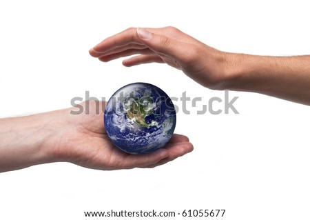 Concept for global environmental care. Isolated on white. Image public domain http://visibleearth.nasa.gov/ - stock photo