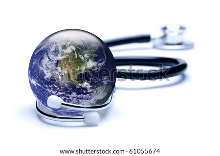 Concept for global medicine. Isolated on white. Globe public domain courtesy http://visibleearth.nasa.gov/ - stock photo