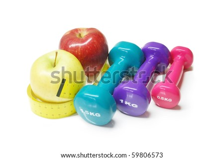 concept for healthy diet and body weight control - stock photo