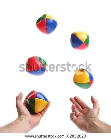 Concept for juggling priorities, 5 balls being thrown by pair of hands over white blurred motion on balls - stock photo