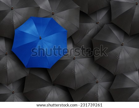 concept for leadership with many blacks and blue umbrella - stock photo