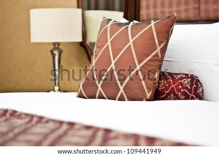 Concept for luxury and Honeymoon, pillows in a luxury hotel - stock photo