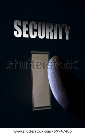 Concept for modern security with closeup fingerprint scanning technology - stock photo