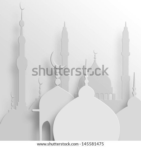 Concept for Muslim composed in silhouette of mosque  - stock photo