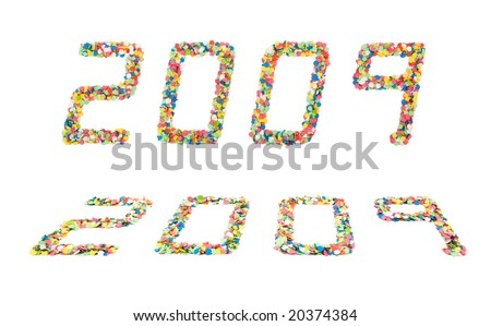 Concept for New Year with 2009 written with confetti in a modern font