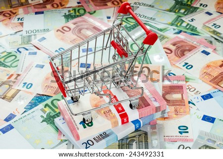 Concept for purchasing power, shopping, money printing and inflation - stock photo