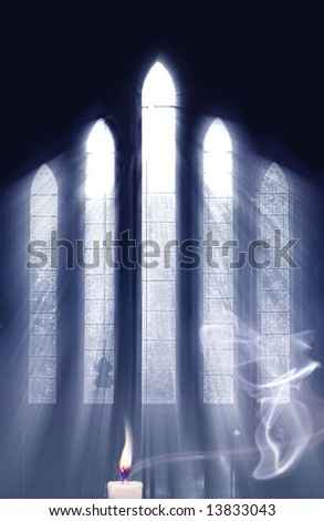 Concept for seeing the light and the power of Prayer, as light streams through Church window onto cross and highlights smoke from Prayer Candle - stock photo