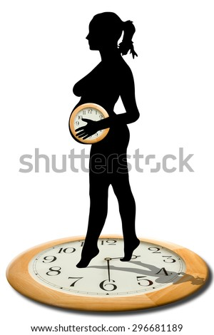 concept for, the hour has come, time is coming, waiting time is running out, it's time to be born. image of a  pregnant woman holding a clock - stock photo