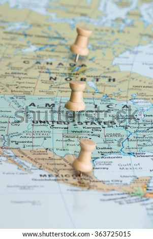 Concept for the Idea of a north American union including Canada, The United States and Mexico - stock photo