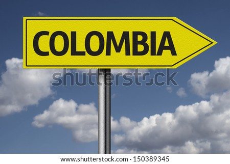 Concept for travel subject - Colombia yellow sign - stock photo