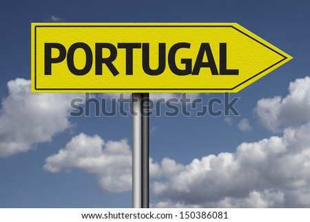 Concept for travel subject - Portugal yellow sign - stock photo