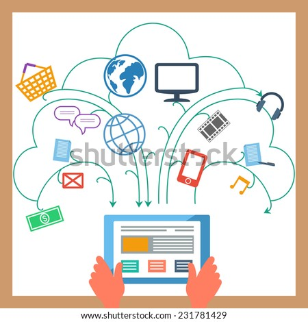 Concept for user interface elements with digital tablet and e-commerce, banking, multimedia, communication pictograms. Raster version  - stock photo