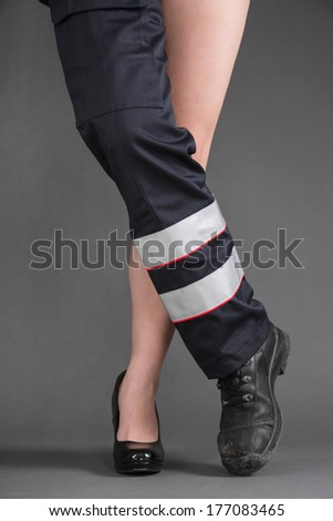 Concept for women in craft - one sexy woman leg and one leg in medical clothing - stock photo