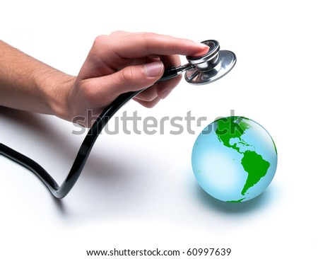Concept for world healthcare, looking after the planet. Isolated on white. - stock photo