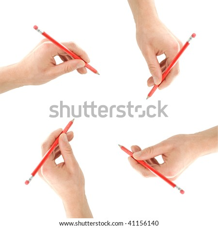 Concept frame made of pencils in hands isolated on white - stock photo