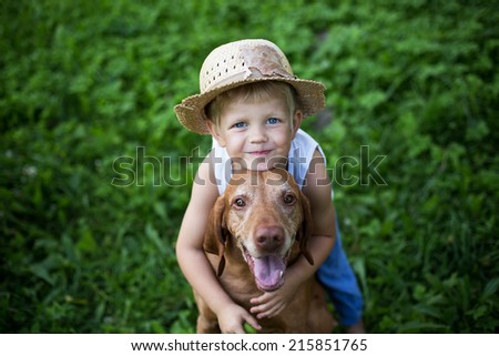 Concept: friendship between human and animal. Outdoor portrait - stock photo