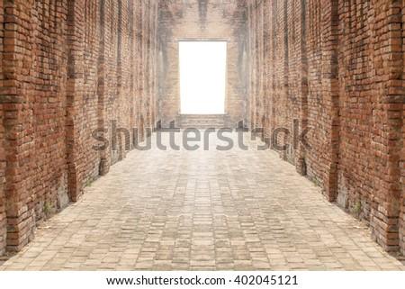 Concept gateway to success, brick walls - stock photo