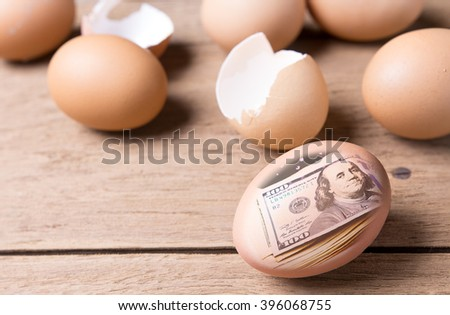 Concept gift from easter  100 dollars bank in egg - stock photo