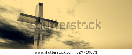Concept glass cross or religion symbol silhouette on water landscape over a sunset or sunrise sky with sunlight clouds background banner for God, Christ, Christianity, religious, faith, Jesus belief - stock photo