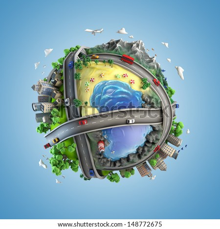 concept globe showing diversity and transport in the world in a cartoon style - stock photo