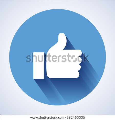 Concept  glossy, stylish social media like hand icon(Symbol). The illustration shows a shiny like sign or icon used in social media websites like. New like icon - stock photo