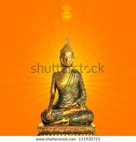 Concept gold  statue of buddha Buddhism,symbol, face silhouette with orange sunset, sun background,metaphor,religion,faith,meditation,peace