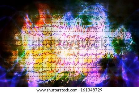 concept graph brain wave EEG - stock photo
