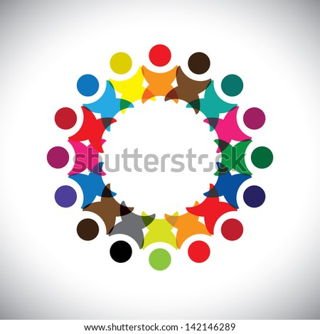 Concept graphic- abstract colorful employee unity icons ( signs ). The illustration represents concepts like worker unions, employee diversity, community friendship & sharing, kids playing, etc - stock photo