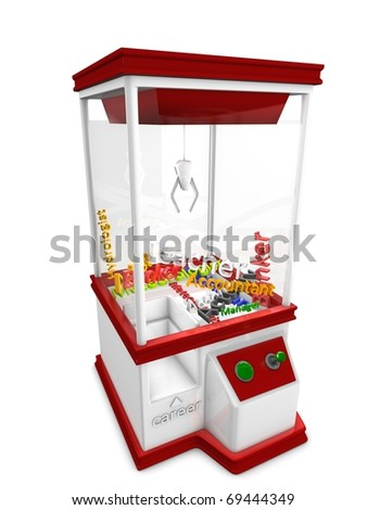 Concept graphic; career machine, isolated on white background. - stock photo