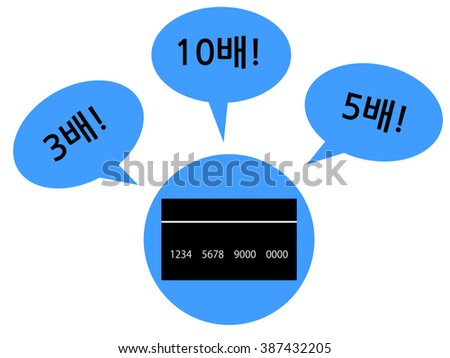 "Concept graphic depicting a credit card that earns many points with some chat bubbles saying how much points you would get. The foreign language in this picture means ""threefold! tenfold! fivefold!""."
